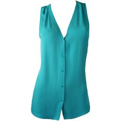 Joie Teal Juniper Sleeveless'Carissa' Top ($187) ❤ liked on Polyvore