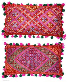 Pillow-Cover,Swat Valley(Pakistan).Cotton embroidered with floss silk.with woolen Braiding and Tassels.very fine quality work both side