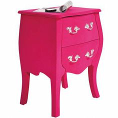 NEW! Frolic Flocked Pink Bedside Table|Bedside Tables|Tables|French Bedroom Company on Wanelo