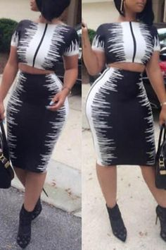 Roaso Stylish Round Neck Black-white Two-piece Skirt Set Black And White Two Piece, Black And White Skirt, White Skirts, Black White, White Pencil Skirts, Two Piece Outfit, Two Piece Skirt Set, Skirt Outfits, Cute Outfits