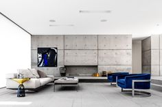 BLUE CHAIRS/ with light gray   Mosman House by Tanner Kibble Denton Architects