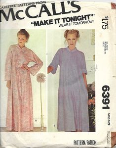 McCall s 6391 Misses Front Zip Housecoat Or Robe Sewing Pattern 29a3a0eda