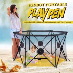 Kidbot Travel Child Pop Up Playpen Foldaway Baby Playpen Yellow Baby Swing Seat, Baby Swings, Safety Bed, Baby Safety, Portable Playpen, Baby Playpen, Plastic Babies, Three Year Olds, Baby Online