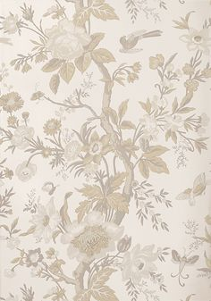 Nemour in from the Enchantment collection. Vintage Wallpaper Patterns, Pattern Wallpaper, View Wallpaper, Flower Wallpaper, Construction Wallpaper, Mural Art, Soft Colors, Chinoiserie, House Colors