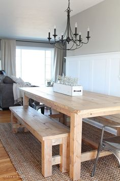 Farmhouse table plans & ideas find and save about dining room tables . See more ideas about Farmhouse kitchen plans, farmhouse table and DIY dining table Farmhouse Dining Room Table, Diy Dining Table, Bench For Kitchen Table, Farm Table Diy, Large Dining Room Table, Rustic Kitchen Tables, Make A Table, Wood Tables, Dining Nook