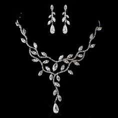 Antique Silver Clear CZ Crystal Necklace & Earrings Jewelry Set
