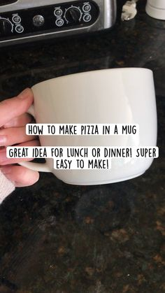 Mug Recipes, Fun Baking Recipes, Microwave Recipes, Snack Recipes, Cooking Recipes, Snacks, How To Make Pizza, Food To Make, Pizza In A Mug