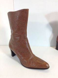 A. Marinelli Women's Boots Size 9.5 M Brown Leather Embossed #AMarinelli #FashionMidCalf
