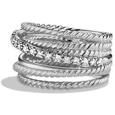 David Yurman Crossover Wide Ring with Diamonds ($890) ❤ liked on Polyvore featuring jewelry, rings, silver, pave diamond ring, david yurman jewelry, diamond jewellery, wide rings and cross over ring