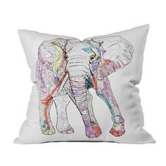 Casey Rogers Elephant Illustration Throw Pillow