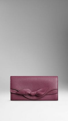 Elderberry Knot-Detail Grainy Leather Continental Wallet - Image 1