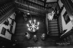 Arley Hall Wedding - arrival of the bride down the grand staircase.