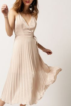 Azalea - Pleated Midi Wrap Dress