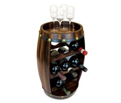 Puzzled Alexander - 8 Bottles Wooden Holder - Barrel Shape Wine Décor Rack Stand Furniture - Barrel Collection - Unique and Elegant Gift - Item no.9420 *** Startling review available here  : Wine Accessories
