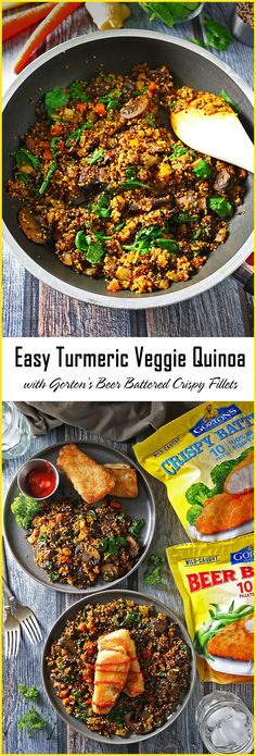This Easy Turmeric Quinoa and Veggie Saute with Gorton's Beer Battered Crispy Fillets marries the delightful flavors of charred mushrooms, caramelized onions and a symphony of spices to bring you one delicious and easy, weeknight supper or lunch!   .  .  #GortonsMealTime #TrustGortons #ad