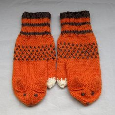 Fox mittens in orange and brown for grownups by SaijaSkills, €21.00