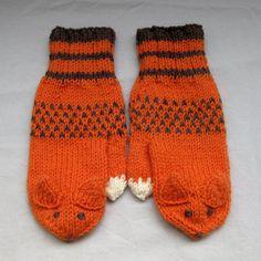 Fox mittens in orange and brown for grownups by SaijaSkills, €21.00