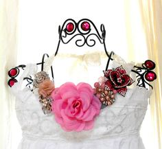 Pink Bib Necklace Shabby chic Statement by TrueRebelClothing, $80.00