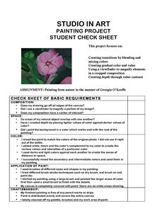 Saving so I can remember to create a check-list sheet and rubric for the O'keefe florals. review and adapt - great rubric for still-life painting