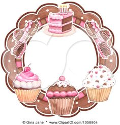 Royalty-free vector clipart illustration of cupcakes truffles and cake circular bakery logo. This cupcake stock logo image was designed and digitally rendered by Gina Jane. Cupcake Clipart, Cupcake Logo, Cupcake Bakery, Cupcake Art, Cupcake Template, Cupcake Illustration, Logo Doce, Cake Logo Design, Logo Clipart