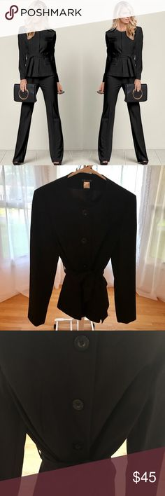 """VENUSSexy Belted Pant Suit Set, Black, Size 8 VENUSSexy Belted Pant Suit Set, Black, Size 8!➖Boost your confidence and title, by walking into the room in this stunning suit set.➖Front pockets➖Four front button closure and belt accentuates the waist➖Jacket is partially lined➖Pants have button and zip closure➖Jacket is fully lined➖33"""" inseam➖Poly/viscose/elastaneTried on once before I got pregnant⚠️If you're unsure about sizing please refer to the VEVUS size chart I've posted in the…"""