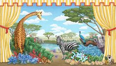 Welcome to the jungle! This African Safari Mural features a giraffe, Rhinoceros, monkey, lion and zebras etc., Our mural wallpaper is designed to be fully customizable: animals can be moved or scaled to accommodate windows & doors.