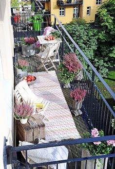 white wooden folding chairs, wine crates, throw rugs, potted plants