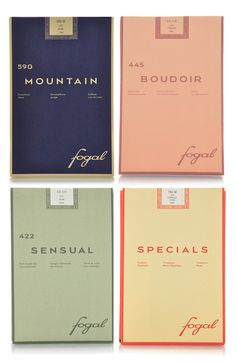 The branding and the colors of the above packaging from Fogal, a Swiss legwear and kniwtare company is really doing it for me today. Brand Packaging, Packaging Design, Branding Design, Logo Design, Vintage Packaging, Coffee Packaging, Bottle Packaging, Beauty Packaging, Vintage Branding