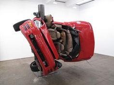 Crashed Cars Sculptures by Dirk Skreber