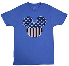 DIsney Mickey Mouse Americana Silhouette Tshirt Large Heather Blue ** Learn more by visiting the image link.