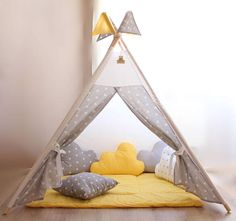 Yellow gray stars teepee set Baby gift Teepee with playing mat Boys teepee Girls play tent Playhouse Toddler Teepee, Kids Play Teepee, Childrens Teepee, Girls Play Tent, Baby Tent, Play Houses, Kids Furniture, Nursery Decor, Just For You