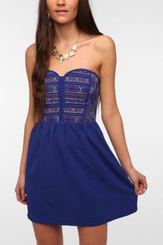 Kimchi blue stained glass strapless lace dress