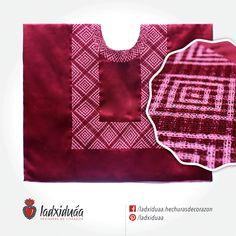 Huipil de Golpe guinda satinado, con tejido de cadenilla en hilos guinda y rosa.