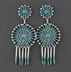 Silver & Turquoise Earrings by Vincent & Socorro Johnson (Zuni) New Mexico.....Love the workmanship...color, style, yet light weight.