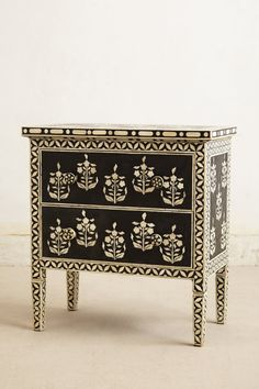 Graphic black & white bone and mango wood (Paisley Inlay Dresser - Anthropologie.com)
