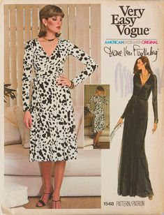 Vintage Vogue américain 1548 Original design Diane Von Furstenberg couture patron Original Wrap Dress taille 16 buste 38, non coupé. Robe
