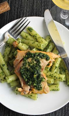 Arctic Char with Kale Pesto features the delicate tasting fish grilled and topped with a zesty pesto sauce, served over a bed of pasta. A healthy and delicious seafood recipe. Dinner Recipes For Kids, Healthy Dinner Recipes, Cooking Recipes, Yummy Recipes, Entree Recipes, Amazing Recipes, Grilling Recipes, Best Seafood Recipes, Healthiest Seafood