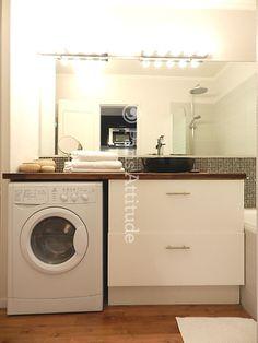 amnager une salle de bain de 4m qui comprend un lave linge nous avons relev le dfi en crant un meuble sur mesure en bton cir - Integrer Machine A Laver Dans Salle De Bain