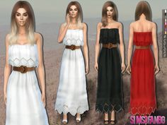 The Sims Resource: 215 - Dress with belt by sims2fanbg • Sims 4 Downloads