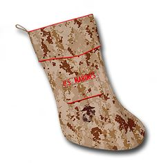 US MARINES Christmas Stocking - The Marine Christmas stocking is designed to become a special keepsake of Marines, former Marines, family and friends who love the Marine Corps. Permission was granted by the Marine Corps to allow the use of the Eagle, Globe and Anchor emblem embroidered on the pocket. The attention to detail is outstanding.   Price: $22.95 http://www.starsandstripesproducts.com/us-marines-christmas-stocking/
