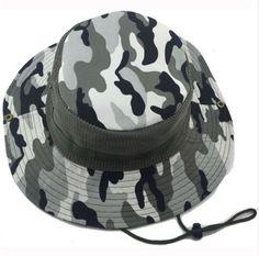 4df00074886 Men s Windproof Breathable Adjustable Wide Brim Camouflage Bucket Hat