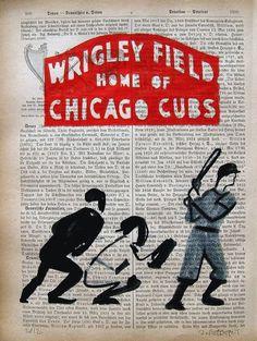 CHICAGO CUBS original mixed media painting print poster