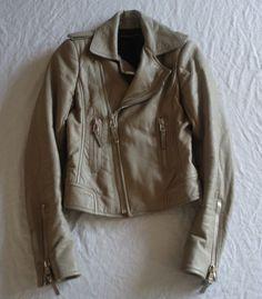 ~ BALENCIAGA TAUPE LEATHER MOTORCYCLE JACKET (A WARDROBE STAPLE!) 36 #BALENCIAGA #jacket
