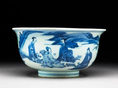Blue-and-white bowl with figures playing chess, Ming dynasty, Tianqi Period, 1600-1625, Jingdezhen kilns, porcelain, thrown, with underglaze painting in cobalt-blue, 7.9 cm (height), 15.3 cm (diameter), at foot 6.6 cm (diameter). Gift of Gerald Reitlinger, 1978. EA1978.1163. © Ashmolean Museum, University of Oxford