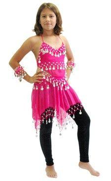 32a433d4e692 Little Girls BELLA Belly Dance Costume - DARK PINK Dance Poses, Sheer  Chiffon, Belly