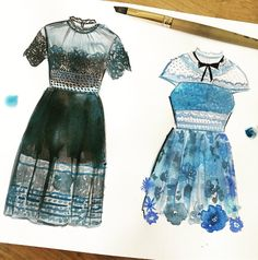 """140 mentions J'aime, 2 commentaires - Jessica Durrant (@jessillustrator) sur Instagram : """"I've been eyeing the lace and eyelet details from @mrselfportrait dresses and just had to paint a…"""""""