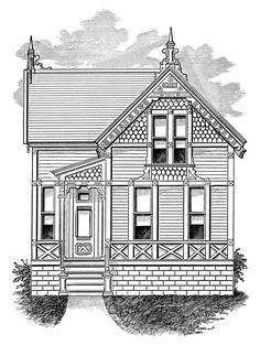 victorian cottage image, black and white clip art, vintage home clipart, antique house illustration, small house graphic Antique House, Victorian Cottage, Victorian Homes, House Illustration, Antique Illustration, Graphic Illustration, House Clipart, Clip Art Library, House Sketch