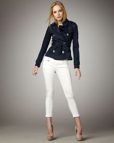 Burberry Brit Double-Breasted Denim Jacket & Ankle-Length Stretch Jeans
