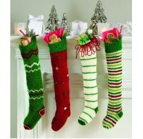 Knitted Christmas stockings. Love these! so cute.