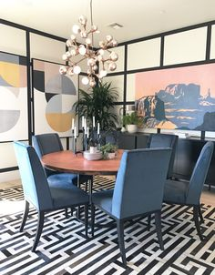 Contemporary dining room in the 2017 HGTV Smart Home designed by Tiffany Brooks